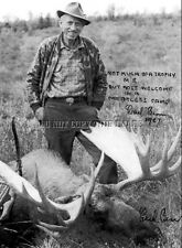 ANTIQUE REPRO 8 X 10 PRINT OF FAMED MICHIGAN BOWHUNTER FRED BEAR WITH MOOSE