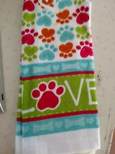 """NWT-""""Paw Print"""" Kitchen Towels~Cotton~14"""" x 24"""" ~LOVE~Dog / Cat Print"""