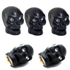 5 Black Evil Skull Tire Air Valve Stem Caps Car Truck Hotrod ATV w/ Spare Wheel