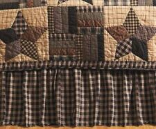 Twin Bed Skirt Red Black Country Plaid Dust Ruffle Split Corners Bingham Star