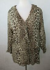 JONES NEW YORK WOMENS LARGE L BLOUSE SHIRT TOP ANIMAL PRINT RUFFLE TRIM V NECK