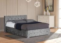 Crushed Velvet Ottoman Storage Bed Frame 3ft Single, 4ft6 Double, 5ft King Size