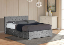Crushed Velvet Ottoman Storage Bed Frame 3ft Single, 4ft6 Double, 5ft King Size