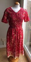 VINTAGE MARKS & SPENCER RED & CREAM FLORAL DITSY DRESS SIZE M