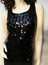 FOREVER 21 Size Small Sparkle Black Sequin Sleeveless Tank Top Blouse