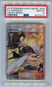 PSA 10 Grimsley #234 SM Unified Minds Full Art Trainer Pokemon Card 234/236 2019