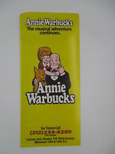 ANNIE WARBUCKS NEW YORK CITY BROADWAY PLAY BROCHURE 1990's