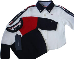 TOMMY HILFIGER $76 BABY BOY 2 PC LONG SLEEVE SHIRT & SWEATER NAVY  3-6  MONTHS