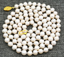 """Beautiful! 7-8mm White Akoya Freshwater Cultured Pearl Necklace 34"""""""