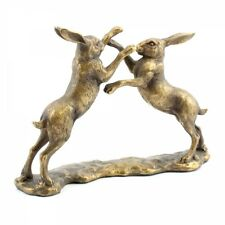 Leonardo Reflections Bronzed Boxing Hares Ornament Gift Boxed Wildlife Figure