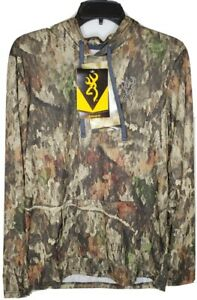 New Men's Browning A-TACS Camo Lightweight Long Sleeve Hoodie Small NEW w/Tags