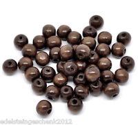 GS: 200 Kaffeebraun Holzperlen Kugelnperlen zum Fädeln 10x9mm
