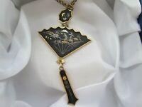 Vintage K24 Japanese Damascene Scenic Fan Pendant & Gold Tone Necklace 56cm