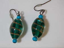 Foiled Art Glass Bead Emerald Green Turquoise Blue Drop Dangle Wire Earring 5c38