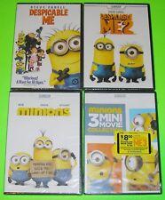 Kid DVD Lot - Despicable Me 1 & 2 (New) Minions & Minions Mini Movie Collection