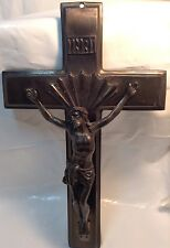 Vintage Heavy Metal WALL CRUCIFIX ~ Ancien CRUCIFIX MURAL en Metal Pesant~ JESUS