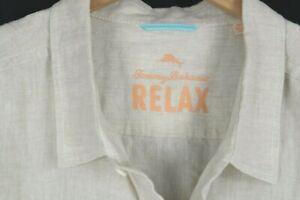 Tommy Bahama Relax Sea Glass Breezer Linen Shirt Mens sz 3XL Light Beige