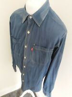 Vintage Levis Jeans Denim Shirt Blue Fade Long Sleeve Medium 48 Chest Loose Fit