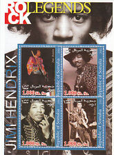 Jimi Hendrix 2002 Rock Legends Somalia Stamp Sheet; Purple Haze; Experience