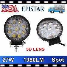 2X 27W Round LED Work Light Spot Fog Lamp Boat Truck 4x4 Jeep Offroad 5D OPTICAL