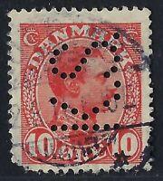 Denmark Perfin K45-K.S.: Kaalunds Saeberfabrik (1915-21) 10 ore Carmine, RF: 300