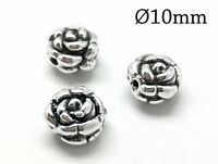 2pcs Hollow Bead Antique Sterling Silver Rose Bud Beads 10mm Necklace Bead