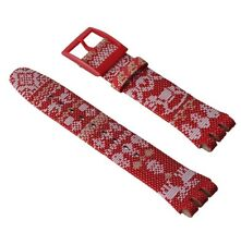 "ORIGINAL SWATCH 19mm NEW GENT ARMBAND ""RED KNIT"" (ASUOZ172) NEUWARE"