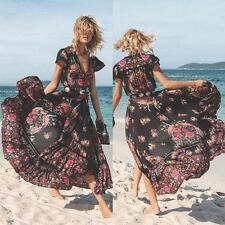 Womens Summer Vintage Boho Long Maxi Party Beach Evening Floral Dress UK 8-24