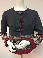 ANN TAYLOR Petites 100% Wool SWEATER Medium CARDIGAN Toggle Buttons Geometric