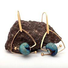 Women Natural Blue Stone Drop Vintage Golden Triangle Shape Dangling Earrings!