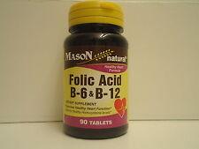 90 TABLETS FOLIC ACID & B 6 B 12  PYRIDOXINE Heart Health formula