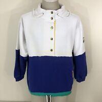 Vintage 80s Color Block Pullover Sweatshirt Women's Large 90s Nautical Sailing