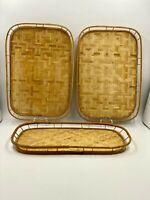 2 Pc. VTG Bamboo Rattan Tiki Style Serving Trays/ Dining/ Entertaining/ Bar