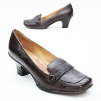Sofft Ladies 11 W Wide Slip-on Brown Leather Button Loafers Heels