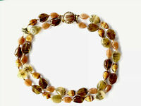 Vintage Hand Knotted Double Strand Glass Banded Agate Bead Necklace Large Clasp