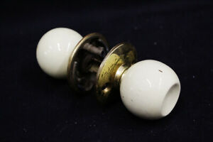 Vintage Mid Century Door Knob Concave Yellow Cream Knob w Rosette curved spindle