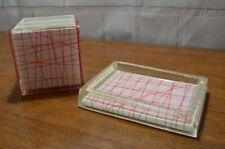 Vintage DKNY acrylic plastic Bathroom Vanity Accessory soap dish red lines