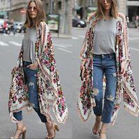 Women Batwing Dolman Tops Print Chiffon Loose Shawl Kimono Cardigan Coat Blouse