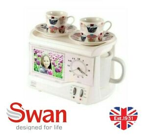 Swan Vintage Retro TeasMade Alarm Clock With Night Light  Tea Maker Photo Frame