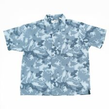Canyon River Blue Men's Button Front Shirt Short Sleeve All Over Print Size XL