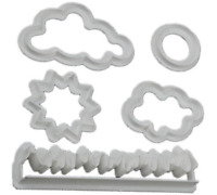 Sun Cloud Grass Icing Cutter Cake Cookie Fondant Topper Decorating Mould 5pcs