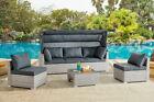 Rattan Garden Furniture Corner Sunbed Set Outdoor Patio Sofa Canopy Modular New