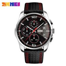 SKMEI Men Watch Chronograph Date Leather Bracelet Analog Quartz Wristwatch Male