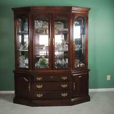 American Drew China Cabinet, Solid Wood, Cherry, Good Condition. Lighted.