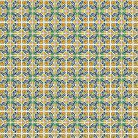 1: 12th Gelb Und Blau Blumenmuster Fliese Blatt Mit Schwarz Mörtel