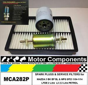 SPARK PLUG & FILTER KIT for MAZDA 3 BK BF BL LFDE 2L, L3 2.3 Litre, L5 2.5L SP25