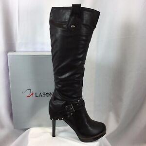 Lasonia Women's B258 Knee-High Boot Brown High Heel Studded Buckle