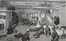 1890 Three Large Engravings- Royal Navy - Big Guns - H.M.S. Aurora - Dance Night