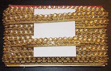Gold 17mm Jewel Sequin Indian wedding  cake dance costume ribbon mesh rhinestone