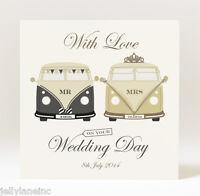 Handmade Personalised Mr and Mrs Campervan Wedding Card